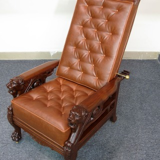 Mahogany Lion Morris Chair